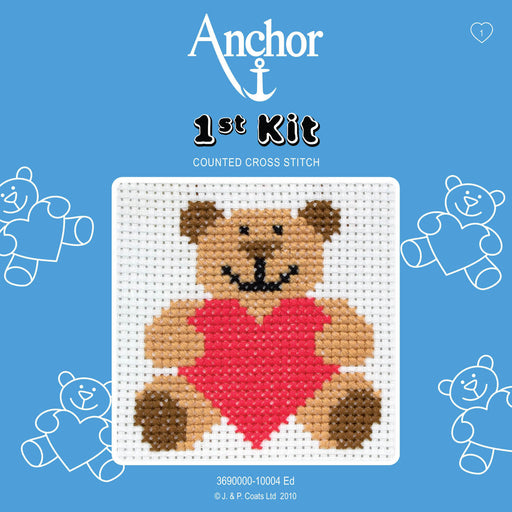 My First Cross Stitch Kit - Teddy With Heart