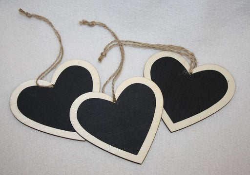 Hanging Blackboard Heart Tags x 3