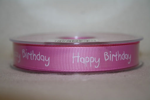 16mmx20m grosgrain happy birthday ribbon pink L588
