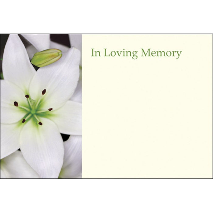 Pack of 50 White Lily Florist Message Cards - In Loving Memory