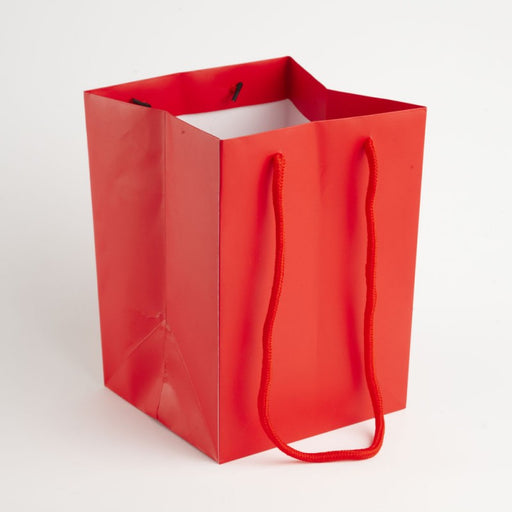 Hand Tied Rope Handle Bags x 10 - Red
