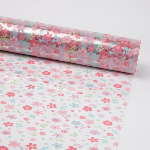 Scatted Flower Cellophane 80cm x 100m - Pink