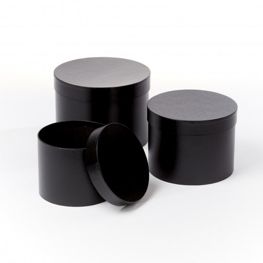 Symphony Lined Hat Boxes - Set of 3 - Black Matte Finish
