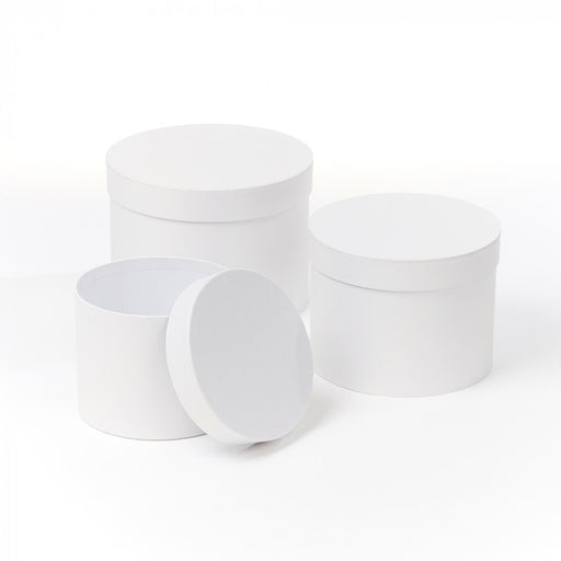 Symphony Lined Hat Boxes - Set of 3 - Pearly White Finish
