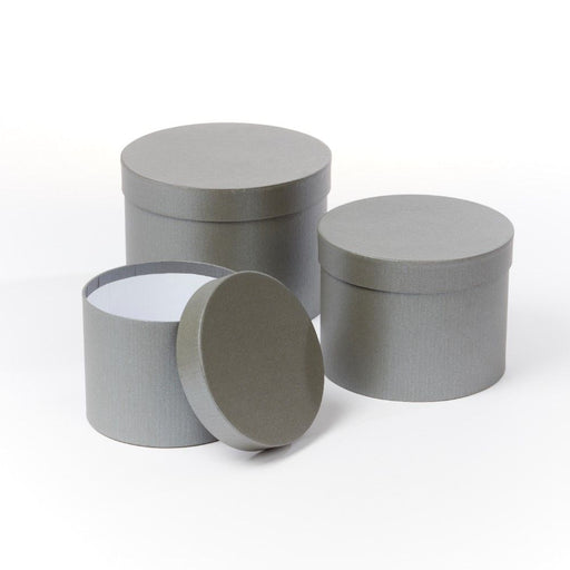 Symphony Lined Hat Boxes - Set of 3 - Dark Grey Matte Finish
