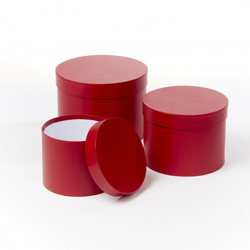 Symphony Lined Hat Boxes - Set of 3 - Red Matt Finish