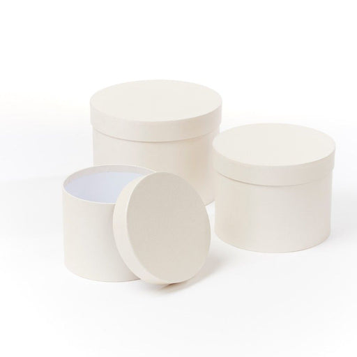 Symphony Lined Hat Boxes - Set of 3 - Pearly Cream Finish