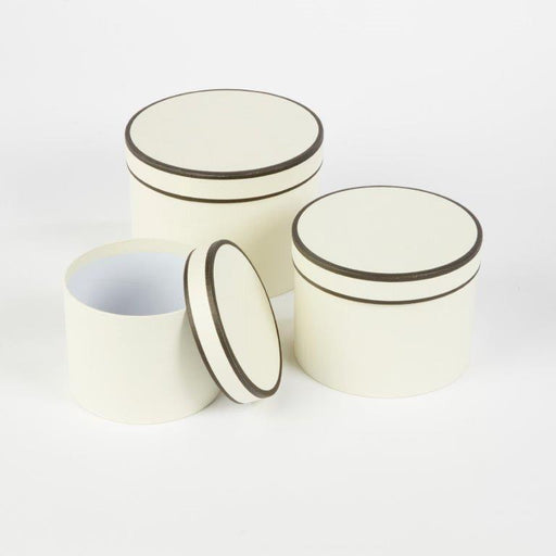 Round Couture Lined Hat boxes Set of 3 - Cream & Black Piping