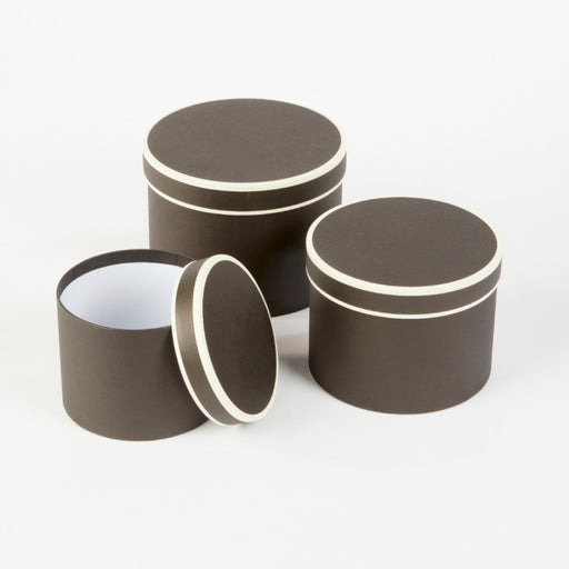 Round Couture Lined Hat Boxes Set of 3 - Black & Cream  Piping