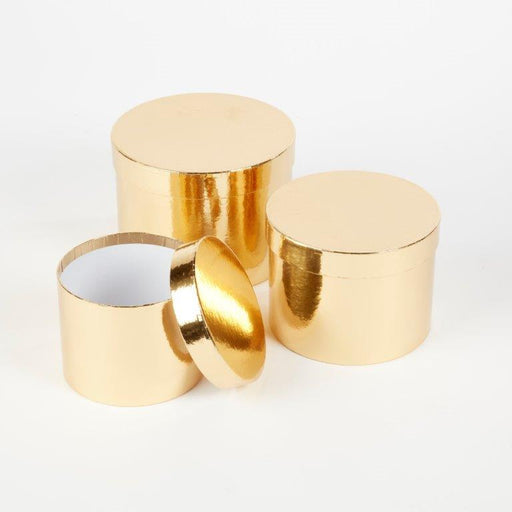 Round Sheen Lined Hat Boxes Set of 3 - Gold