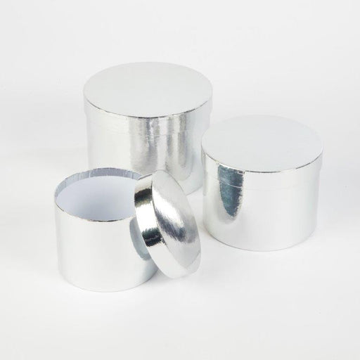 Round Sheen Lined Hat Boxes Set of 3 - Silver