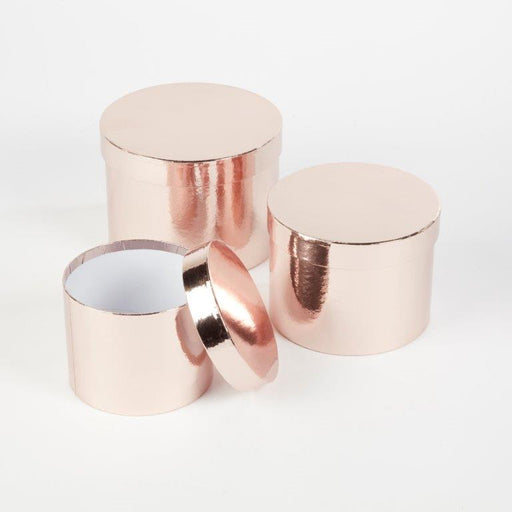 Round Sheen Lined Hat Boxes Set of 3 - Rose Gold