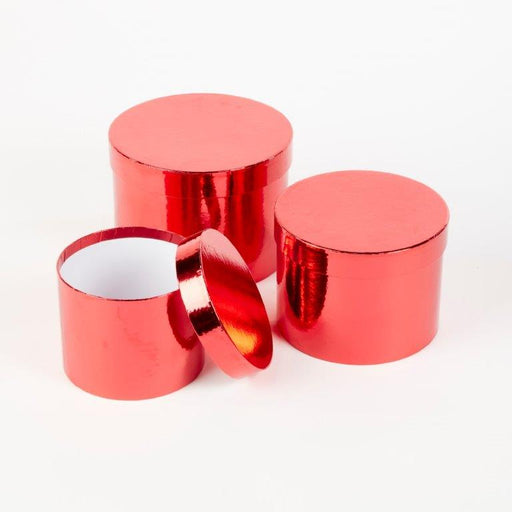 Round Sheen Lined Hat Boxes Set of 3 - Red