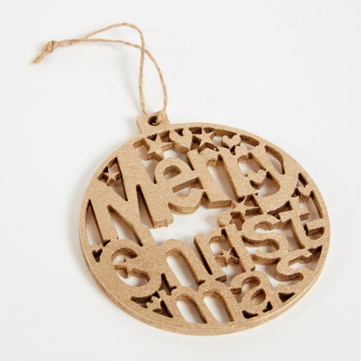 10cm Hanging Merry Christmas Wooden Bauble - Gold