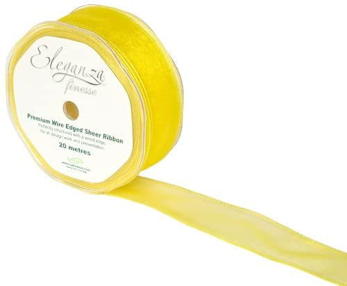 30mm x 20m Yellow Wired Organza Ribbon
