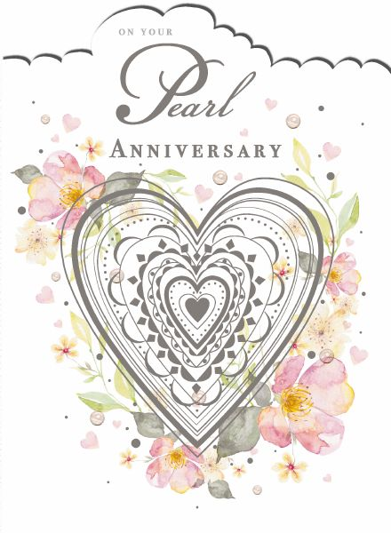 "7x5"" Card -  On Your Pearl Anniversary"