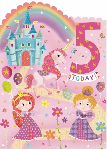 "7X5"" Card Girls 5th Birthday Princess Unicorn Castle"