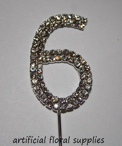 "Single Number Diamante Cake Topper ""6"""