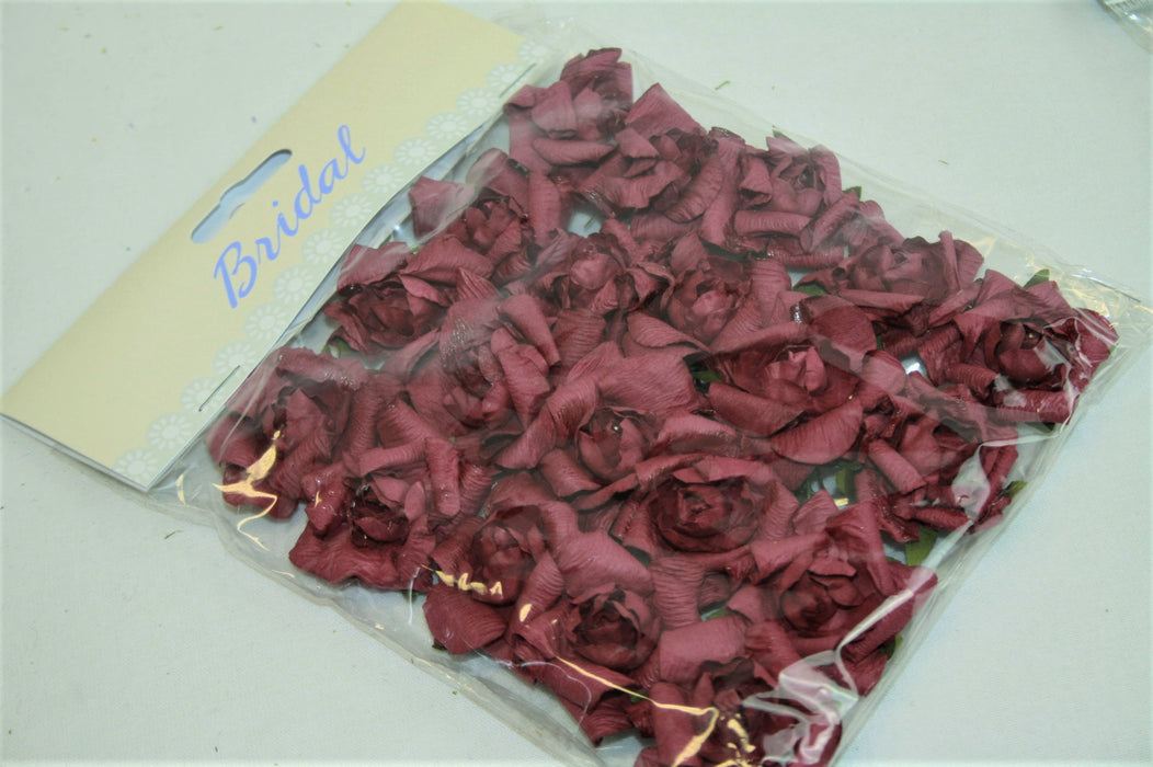 Small Burgundy Paper Rose Heads x 20