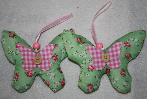 2 Fabric Hanging Butterflies - Green
