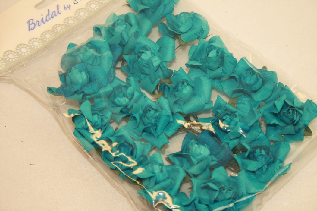 Small Teal Paper Rose Heads x 20