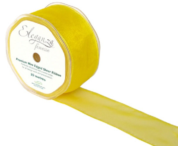 Sheer Organza Wired Edge Ribbon- 50mm x 20m- Yellow