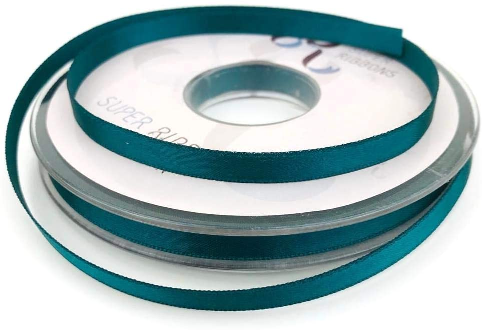 10mm x 20m Double Faced  Satin Ribbon -Teal