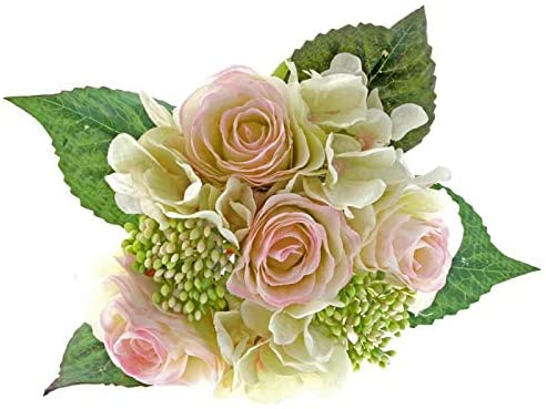 Rose & Hydrangea Bunch - Pale Pink & Ivory Mix