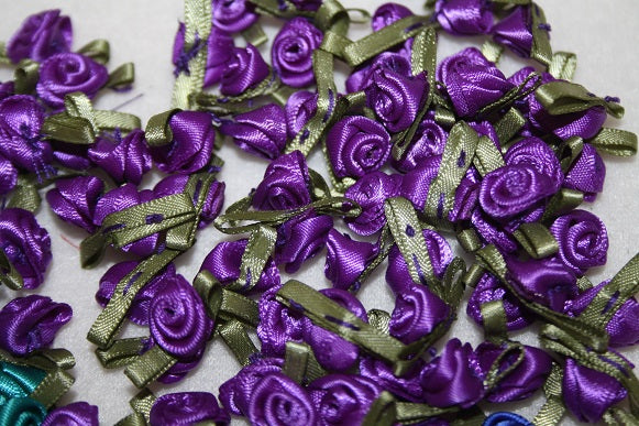 satin purple ribbon rose 100pcs L625
