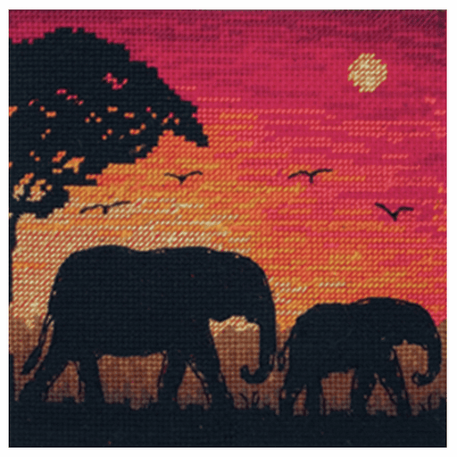Counted Cross Stitch Kit: Maia Collection: Elephant Silhouette
