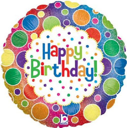 "18"" Foil Balloon - Happy Birthday Rainbow Dots"