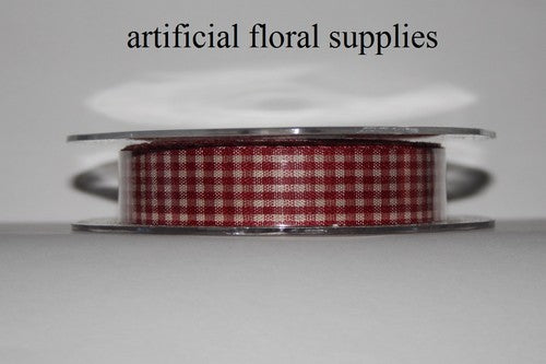 15mm x 25m Gingham Ribbon Burgundy