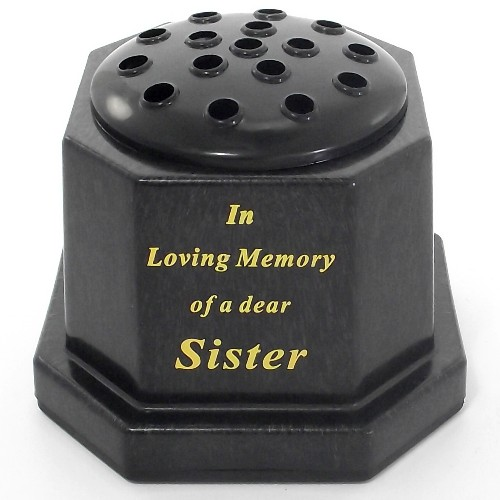 Black In Loving Memory Sister Memorial Pot