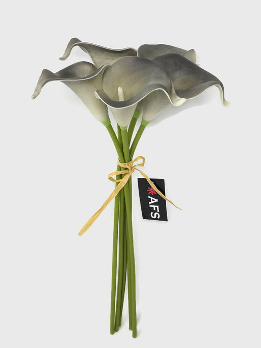 Real Touch Calla Lily - 5 Stem Bundle - Grey