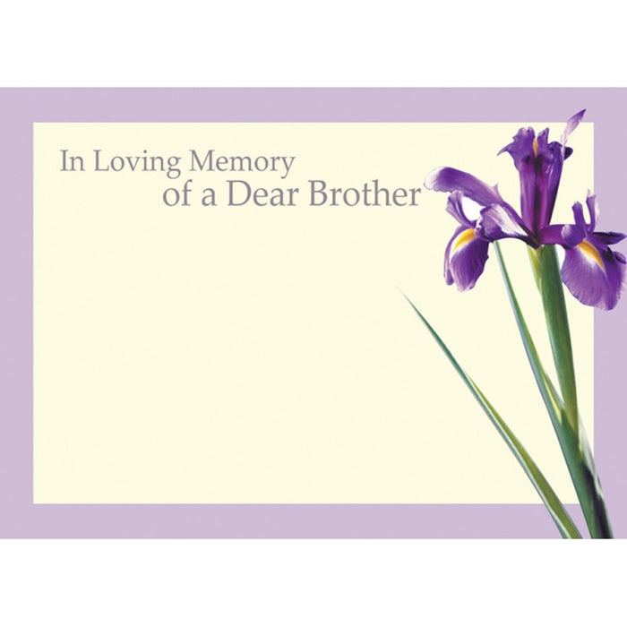 9 Large Brother Sympathy Florist Cards , with Iris