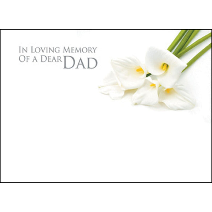 9 Large Dad Sympathy Florist Cards, with Calla Lily