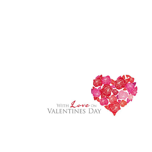 Valentine Florist Message Cards - With Love On Valentines Day Rose Heart  x 50
