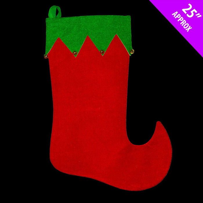 Green & Red Large Elf Stocking with Bells x 54cm