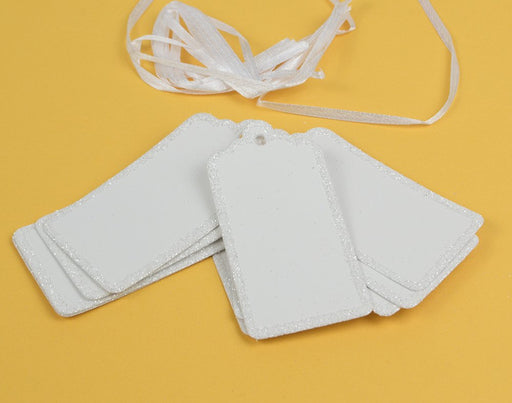 10 x Glitter Edged White Gift Tags With Ribbon