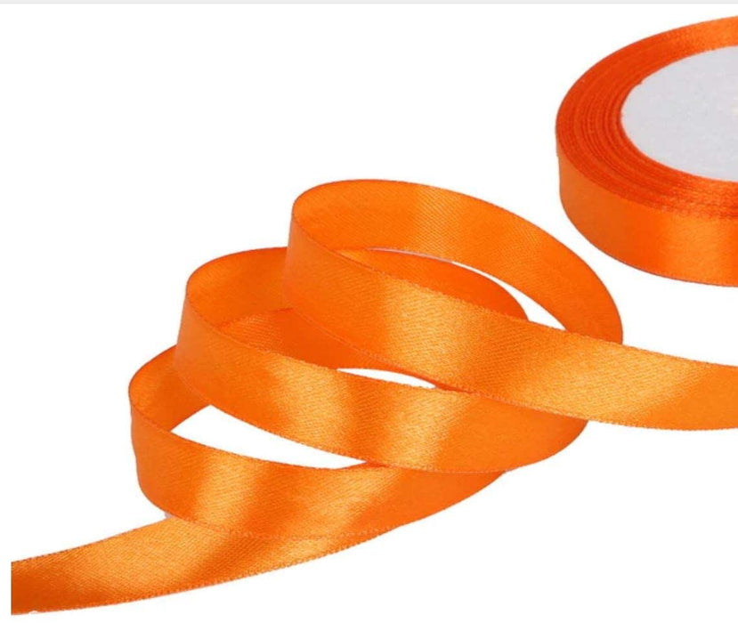 10mm x 20m Double Faced Orange Satin Ribbon