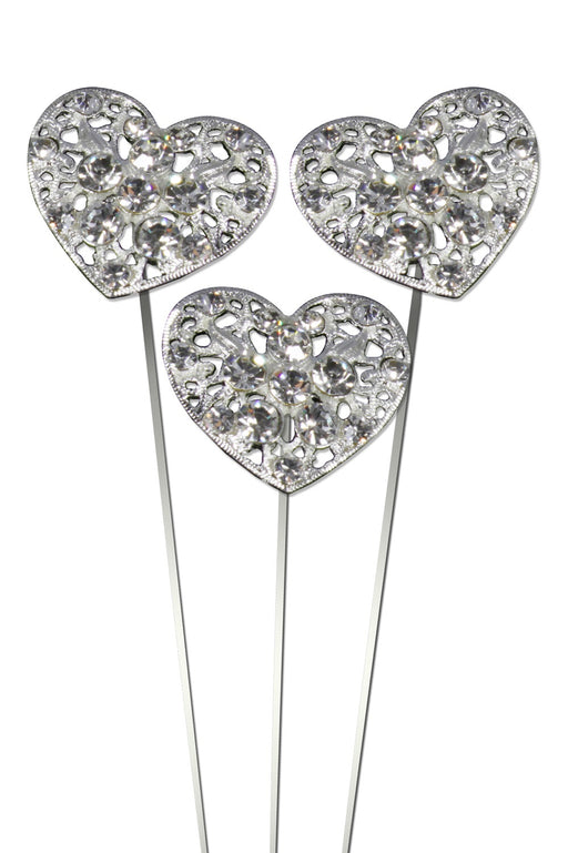 Delicate Damask Diamante Heart Wire Pick x 30mm x 20cm - Pack of 3