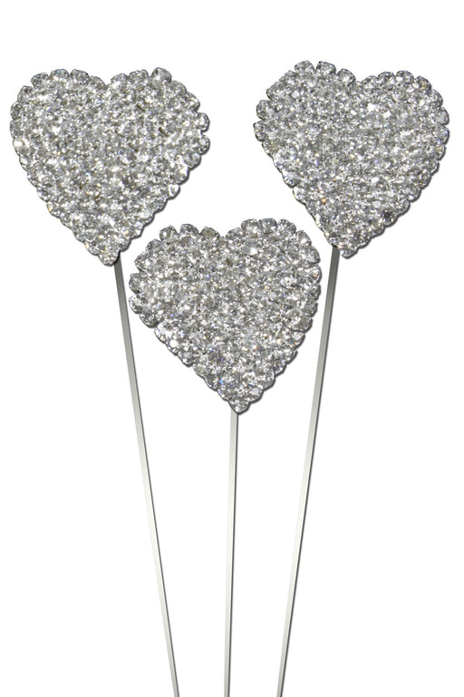 Delicate Diamante Domed Heart Wire Pick x 30mm x 20cm - Pack of 3