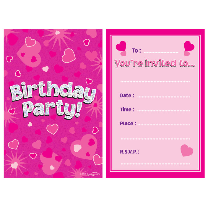 Pink Birthday Holographic Invitations/envelopes 8pcs