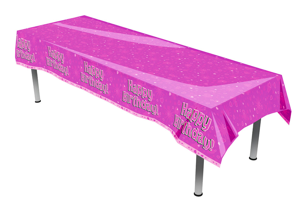 Happy Birthday Pink Hearts Colourfast Plastic Table Cover- 137cm x 2.6m