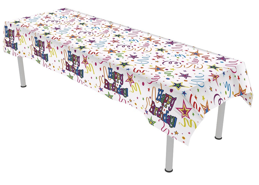 Happy Birthday Ribbons & Stars Colourfast Plastic Table Cover- 137cm x 2.6m