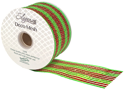 Deco Mesh Metallic Stripe 63mm x 10m Pattern No 277 - Red & Green