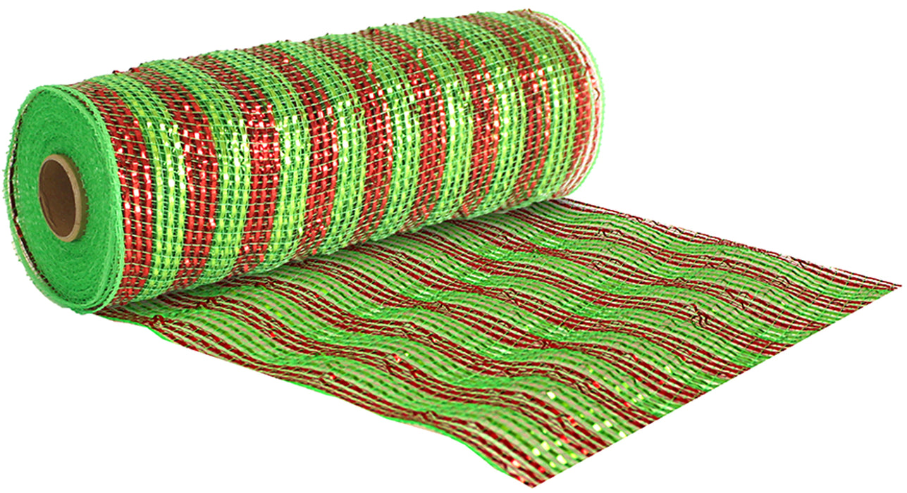 Deco Mesh Metallic Stripe 25cm x 9.1m - Red & Green