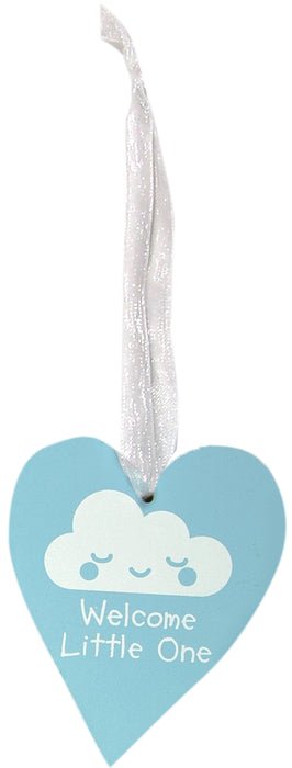 Wooden Hanging Heart 9 x 11cm - Blue - Welcome Little One