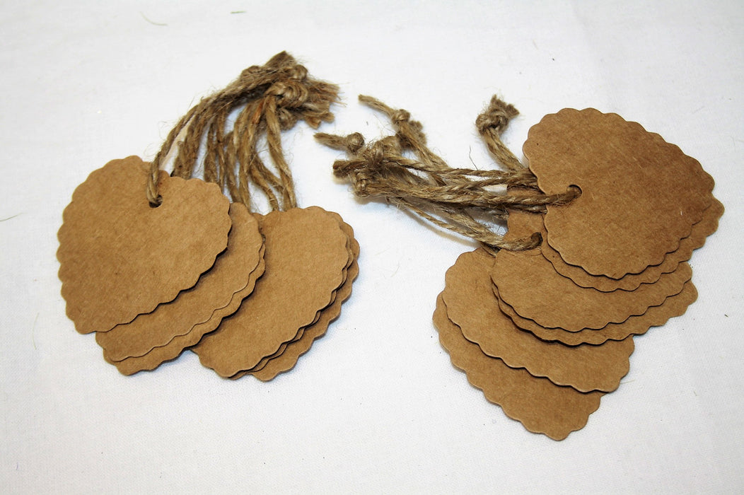 12 Scalloped Heart Kraft Paper Tags