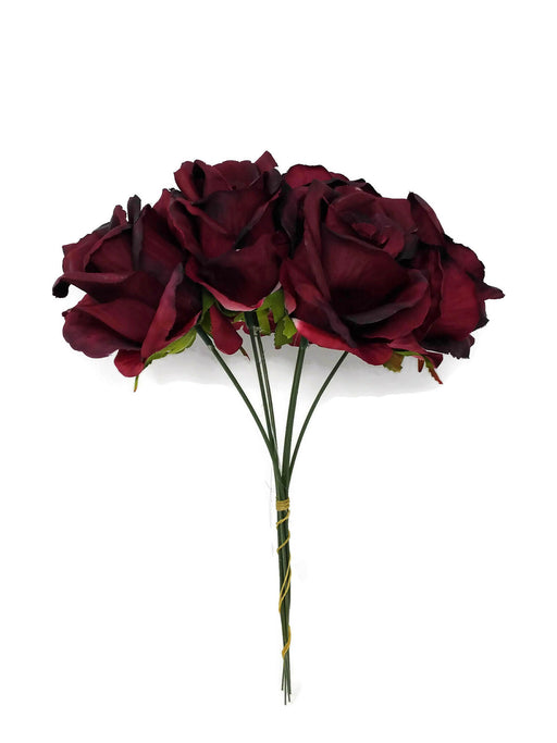 6 Wired Stem Rose Bundle x 27cm - Burgundy
